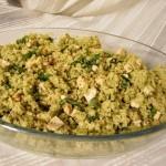 Couscous integrale con crema di zucchini, tofu aromatico, basilico e noci